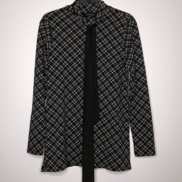 Land's End Black Plaid Top with Tie Detail Size XS
